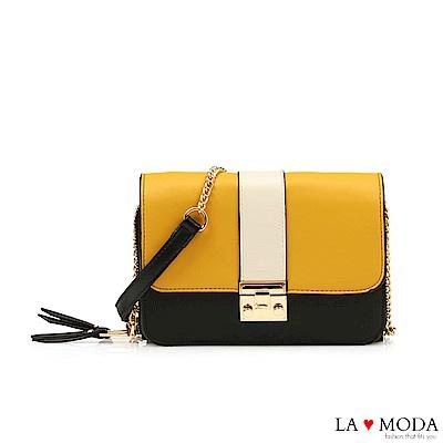 La Moda 人氣不敗拼接撞色大容量約會必備鍊條小方包(黃)