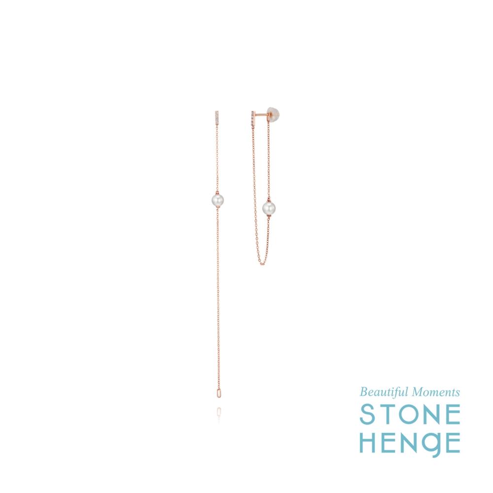 STONEHENgE 斯通亨奇 剪影系列14K玫瑰金線條水晶珍珠鋯石長耳飾