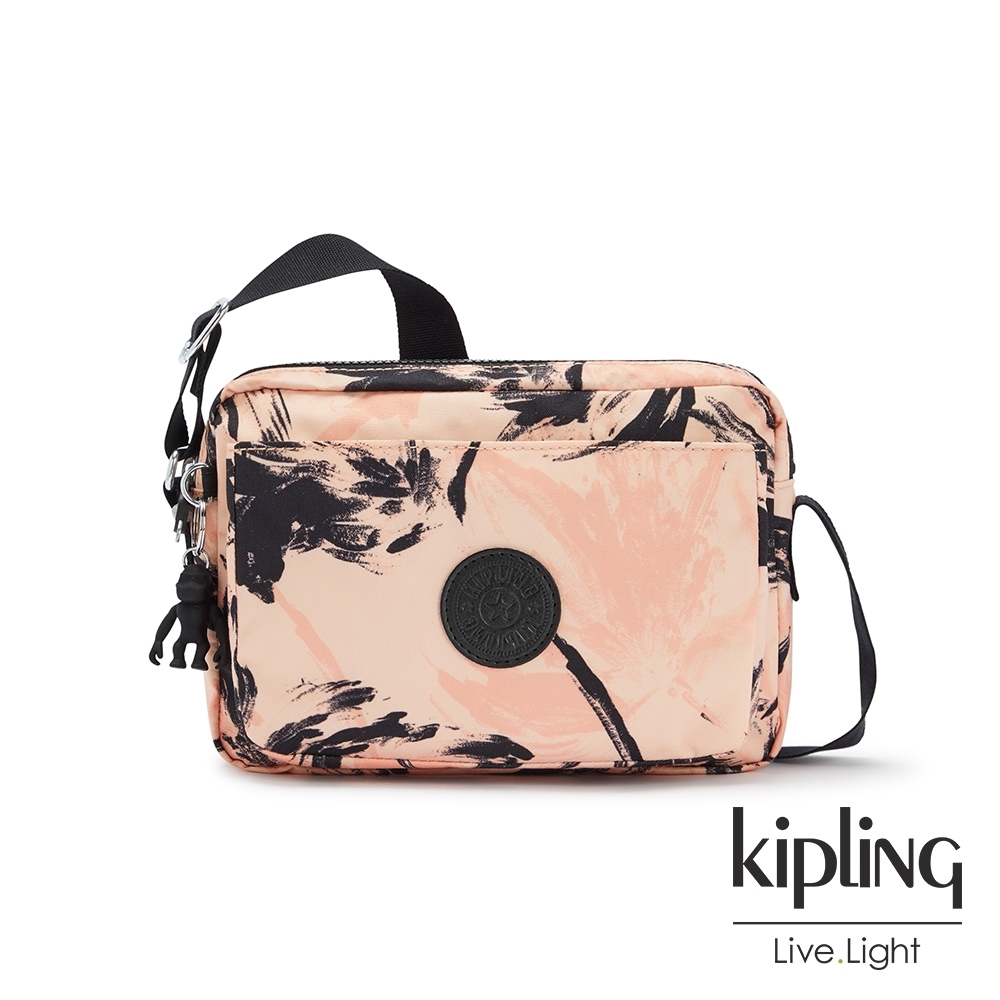 Kipling 珊瑚花潑墨多層隨身斜背包-ABANU M