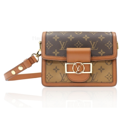 Louis Vuitton (LV) M44580 Mini Dauphine 皮革飾邊帆布肩背包