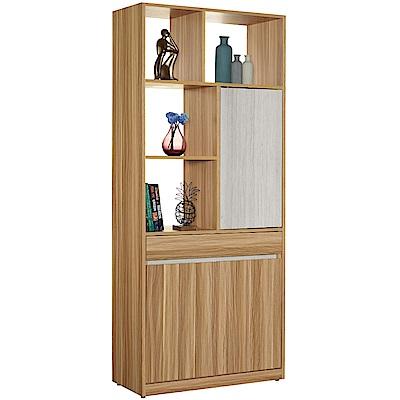 文創集 杜爾時尚2.7尺多功能雙面隔間櫃/玄關櫃-80x40x197cm免組