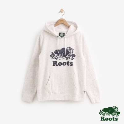 男裝Roots-雪迪斯結粒沙刷毛連帽上衣-白
