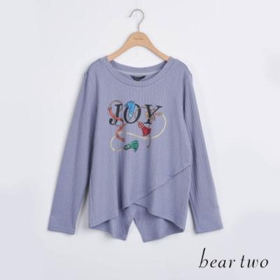 bear two- JOY印花後開衩造型上衣 - 藍