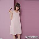 YVONNE雙層紗無袖V領洋裝- 淺粉