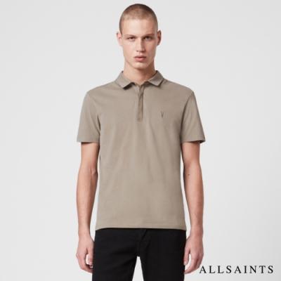 ALLSAINTS BRACE 素面修身純棉短袖POLO衫-卡其綠
