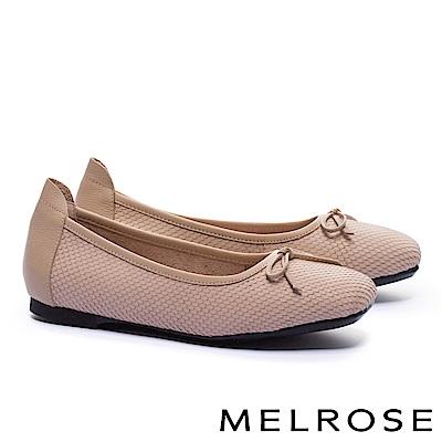 娃娃鞋 MELROSE 經典百搭素雅接蝴蝶結全真皮平底娃娃鞋-米