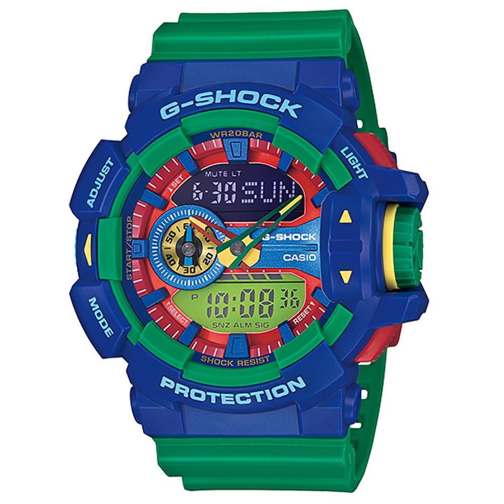 CASIO G-SHOCK 樂高風格跳色運動雙顯錶 (GA-400-2A)-綠/55mm