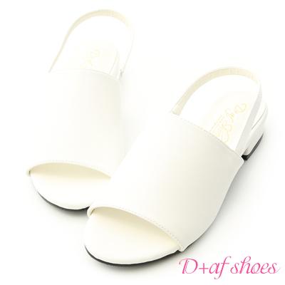 D+AF 完美自我.寬版一字魚口低跟涼鞋*白