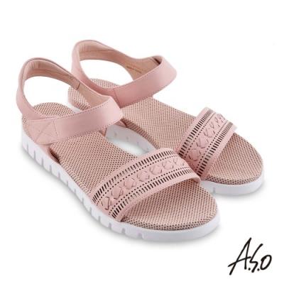 A.S.O 機能休閒 夏季輕量沖孔內襯金箔皮料休閒涼鞋-粉紅