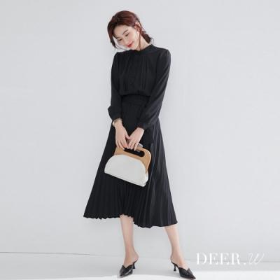 DEER.W 立領綁帶百褶雪紡洋裝(黑)