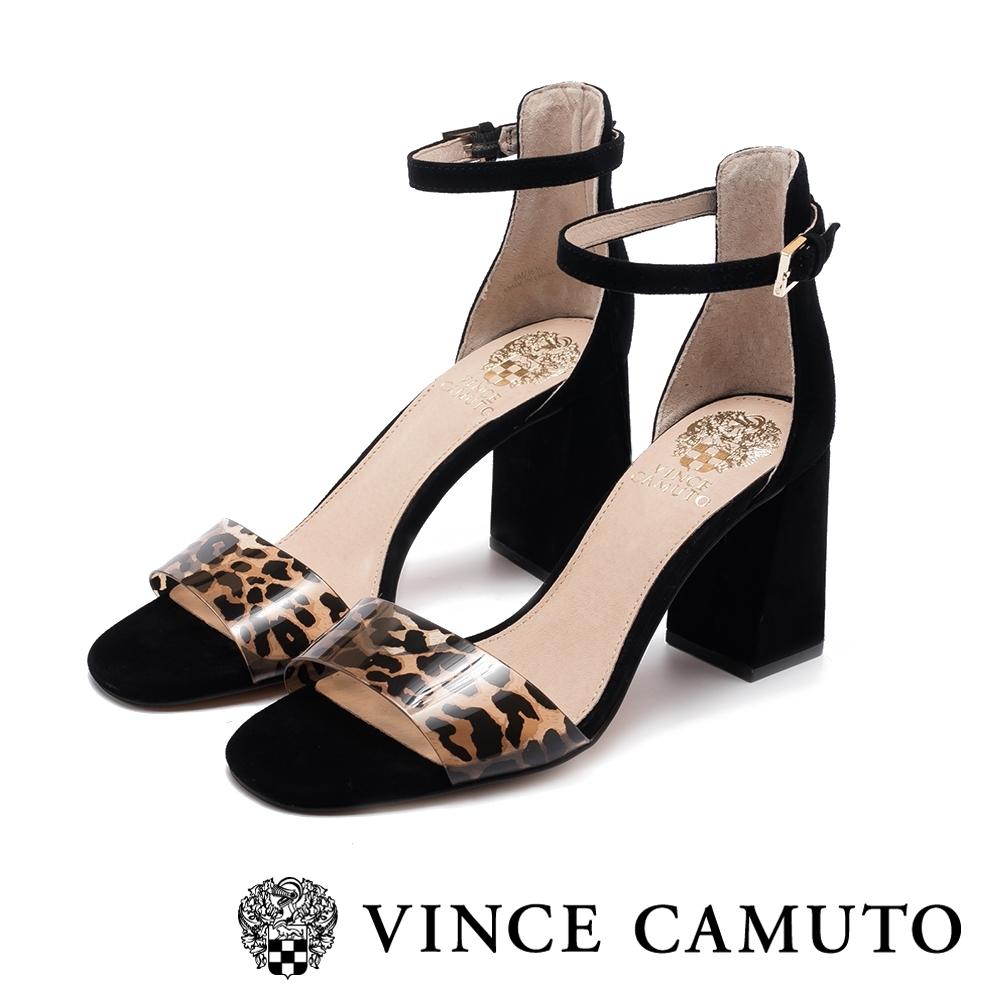 VINCE CAMUTO-WINDERLY真皮動物紋一字繫踝帶粗高跟涼鞋-絨黑色