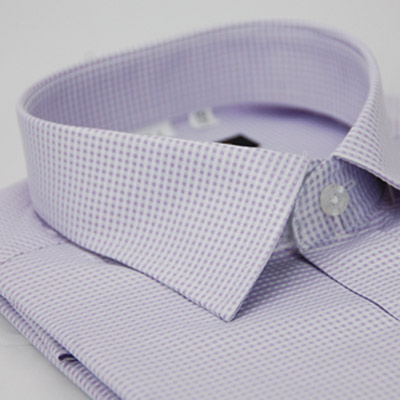 金‧安德森 紫色細格紋窄版短袖襯衫