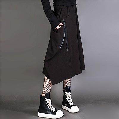 鬆緊腰不規則拉鏈顯瘦寬鬆大碼中裙(實物黑色)-設計所在MP1702