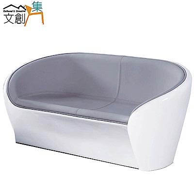 文創集 巴納 時尚皮革塑鋼二人座沙發-140x60x58cm-免組
