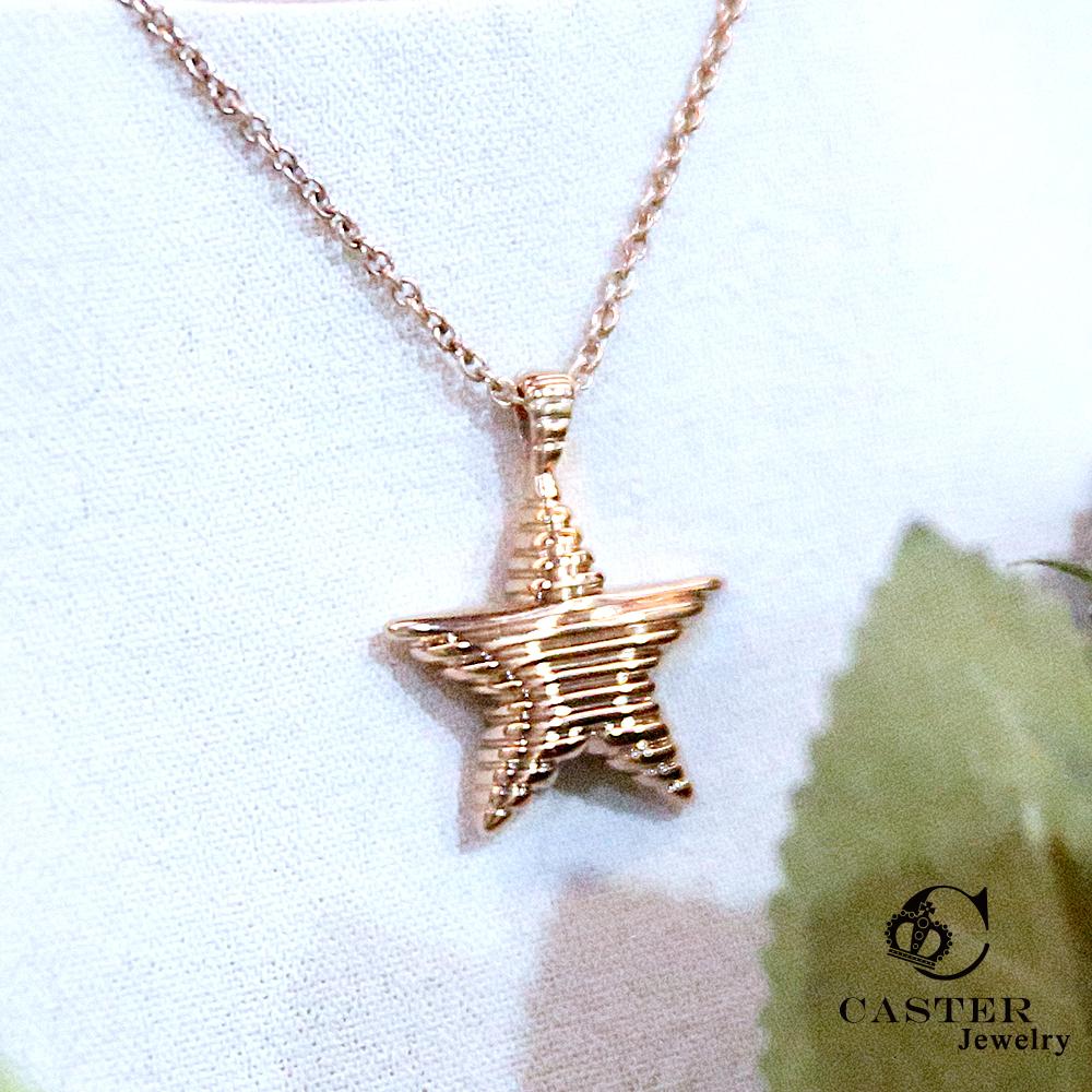 日本 凱斯特 CASTER 星光閃閃 玫瑰金項鍊 防抗過敏 SUS316L頂級不鏽鋼飾品