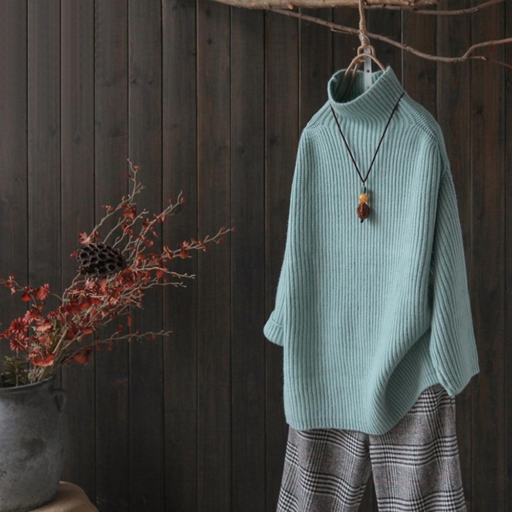 螺紋高領針織衫秋冬裝寬鬆線衫-設計所在
