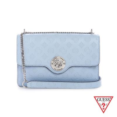 GUESS-女包-氣質金屬裝飾LOGO壓印鍊條肩背包-水藍 原價2890