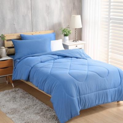 LAMINA 涼被床包組 綠能涼感紗抗菌針織-加大(條紋藍)