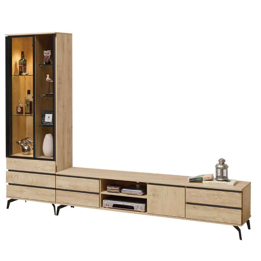 文創集 柏頓8.1尺電視櫃/展示櫃組合(二色)-242.2x40x182cm-免組