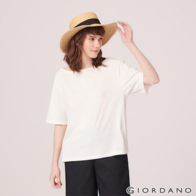 GIORDANO 女裝垂墜風船領短袖T恤- 16 雪白色