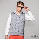 歐洲貴族 oillio V領背心 質感穿搭背心 菱格條紋 灰色