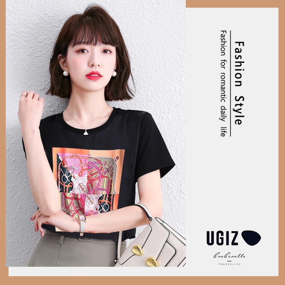 UGIZ-修身優雅圓領抽象圖騰造型上衣-2色(M-XL)