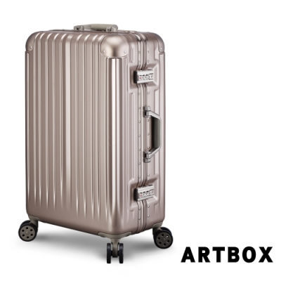 【ARTBOX】威尼斯漫遊 26吋 平面凹槽鏡面鋁框行李箱 (香檳金)