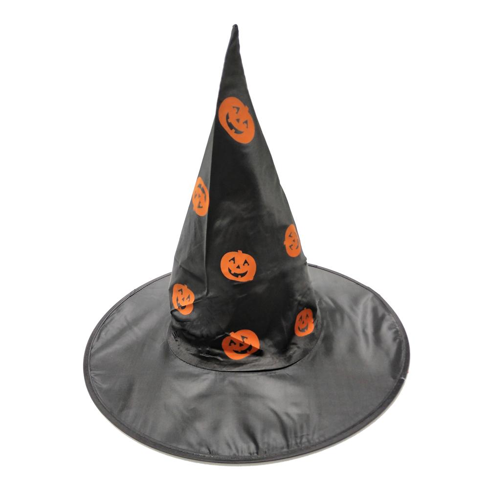 摩達客 萬聖節派對橘南瓜黑色尖頂巫師帽