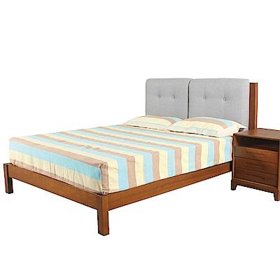 文創集 費納斯時尚6尺實木亞麻布雙人加大床架(不含床墊)-184x200x100cm免組