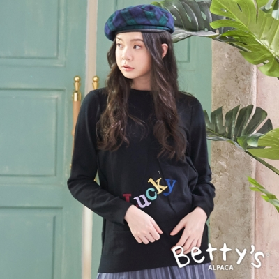 betty's貝蒂思 圓領LUCKY繡線針織衫(黑色)