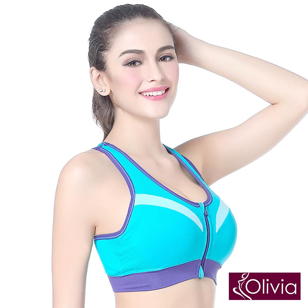 Olivia 無鋼圈防震聚攏撞色BRA運動內衣-拉鍊款-藍色