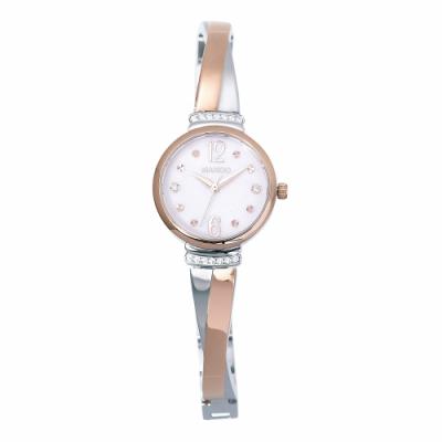 MANGO永恆時刻交叉鍊帶晶鑽腕錶-玫瑰金x銀/26mm