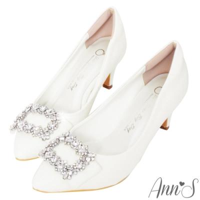 Ann'S花園仙子-氣質鑽石方釦尖頭婚鞋
