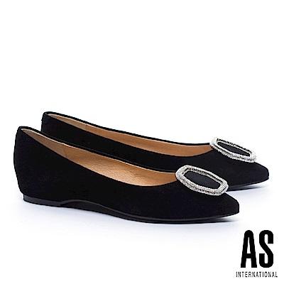 低跟鞋 AS 典雅氣質六角金屬鑽飾羊麂皮尖頭低跟鞋-黑