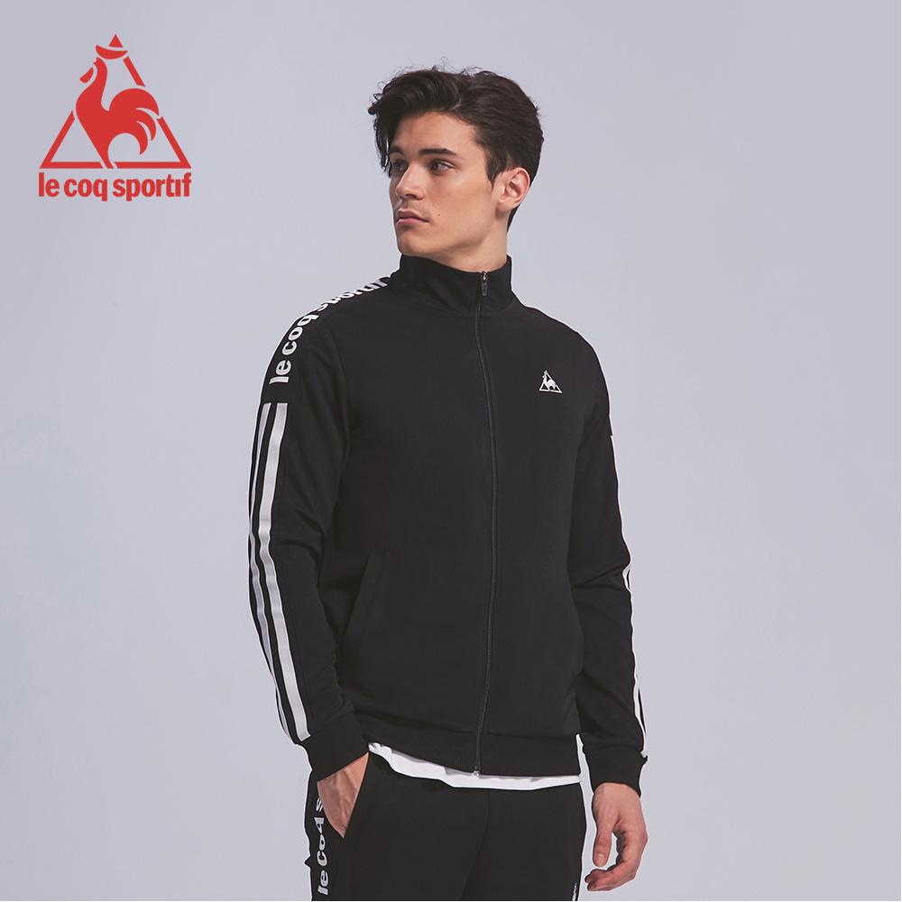 le coq sportif 法國公雞牌彈性吸排肩袖直條紋印花拉鍊外套 男-黑