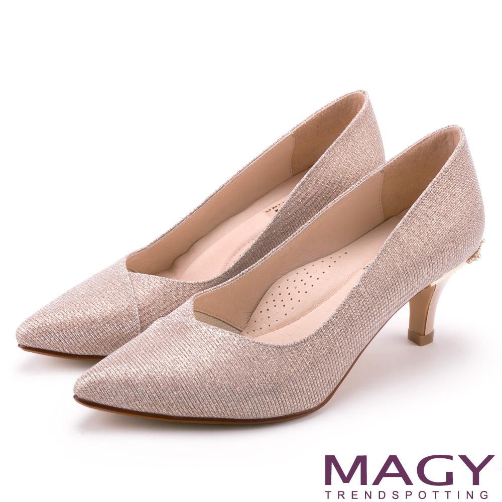 MAGY 閃爍鑽石光澤花嫁 女 高跟鞋 粉裸