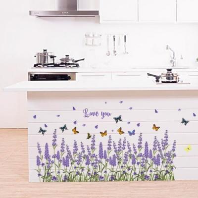 半島良品 DIY北歐風無痕壁貼 SK7038-紫色薰衣草 50x70