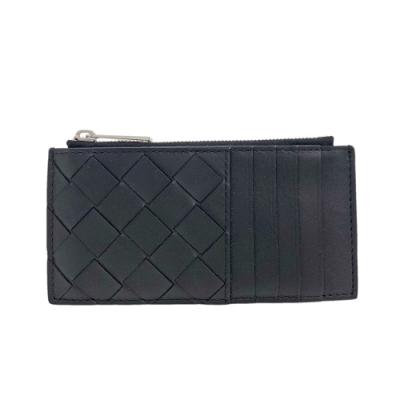 BOTTEGA VENETA 經典編織牛皮拉鍊卡片夾(黑色)