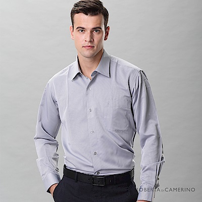 ROBERTA諾貝達 台灣製 優質商務 紳士條紋長袖襯衫 灰色