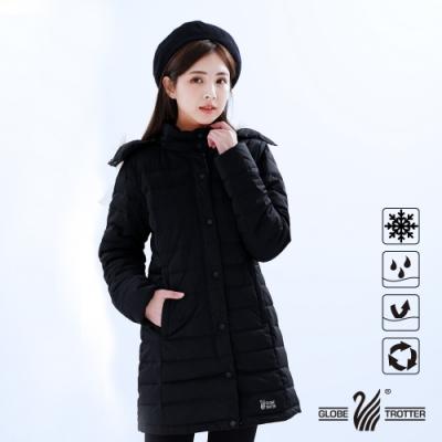 【遊遍天下】女款長版Globetex防水90%羽絨機能外套GJ22013黑色
