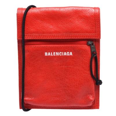 BALENCIAGA 經典Explorer系列品牌粗體字母烙印小羊皮斜背包(小-紅)