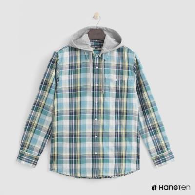 Hang Ten - 男裝 - 率性連帽版型格紋襯衫 - 綠