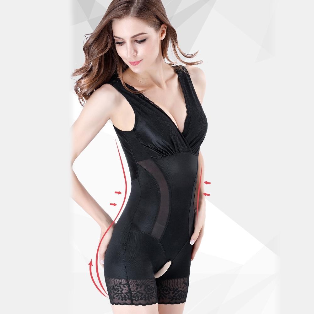 狐狸姬,塑身衣琳娜有罩杯連身平角透氣修飾塑身衣(黑M-3XL)
