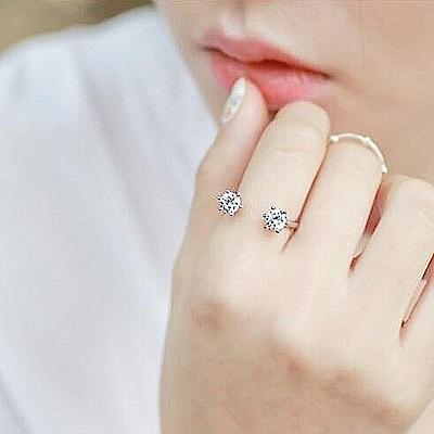 梨花HaNA 韓國雙鑽細緻點綴指間開口戒指