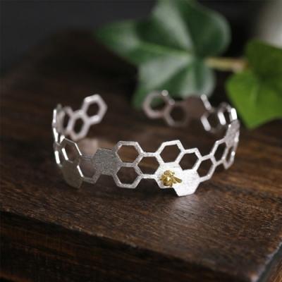 東方美學藝術素銀自然野趣採花蜜蜂立體蜂房純銀手鐲-設計所在