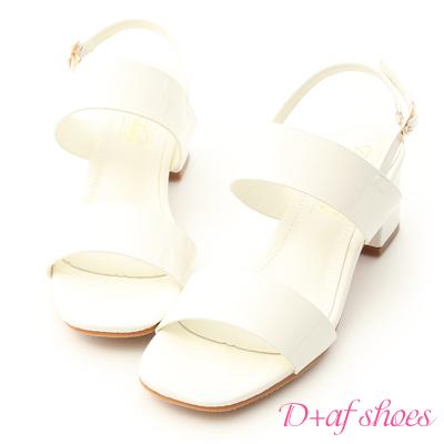D+AF 微甜氣質.一字設計漆皮中跟涼鞋*白