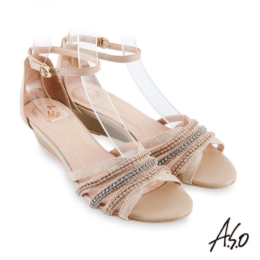 A.S.O 時尚流行 亮眼魅力民族串珠條帶風格楔型跟鞋-米
