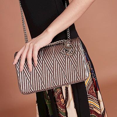 Maria Carla手提肩背包-羊皮V線條鏈包_完美格調、迷漾輕時尚系列(香檳金)