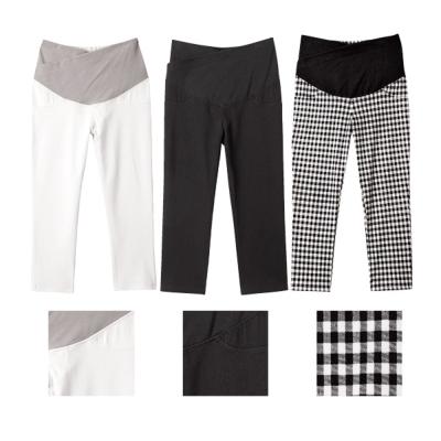 日本雜誌款-彈力顯瘦七分褲(白/黑/格紋黑)