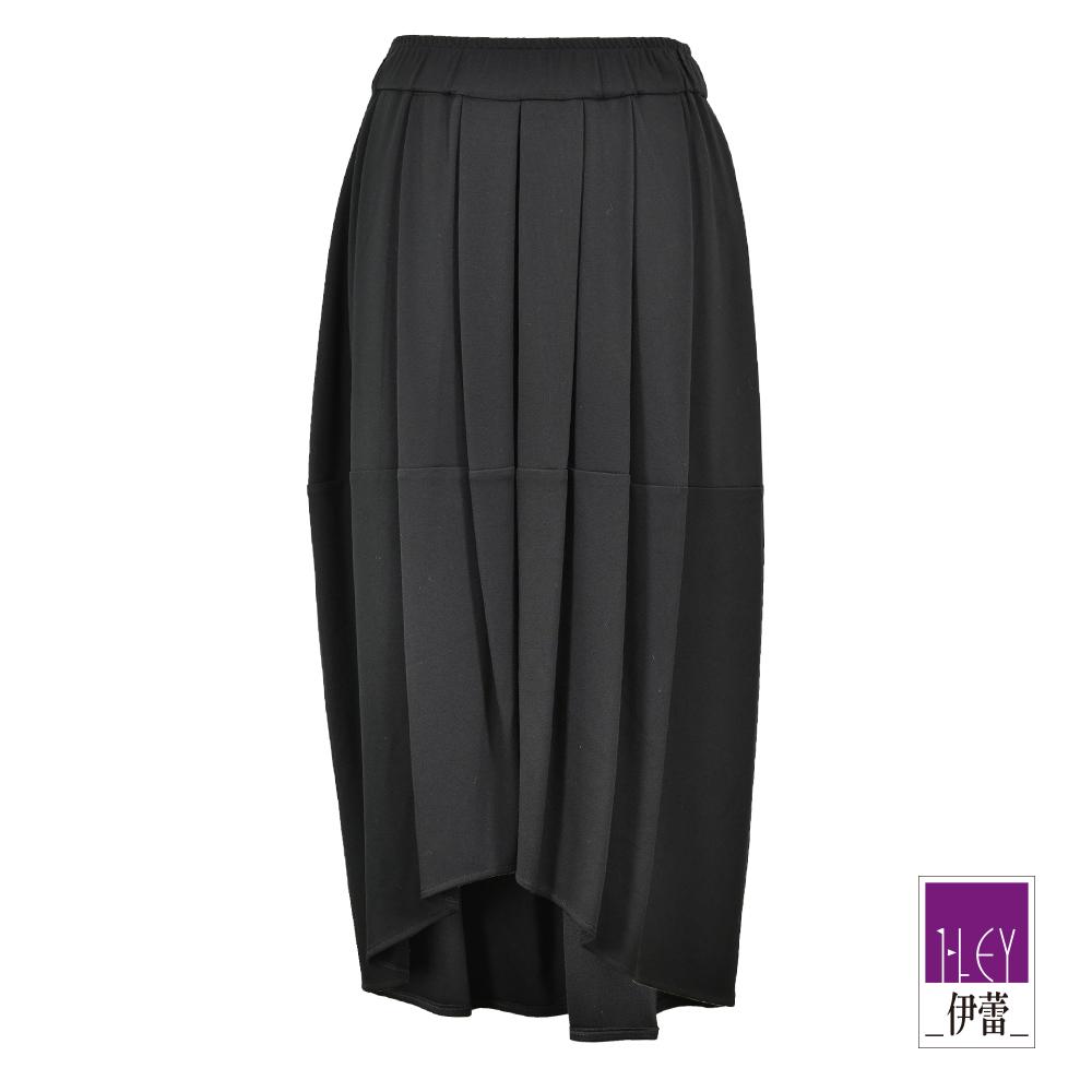 ILEY伊蕾 不規則裙襬彈力長褶裙(黑)